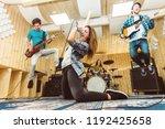 music band having fun... | Shutterstock . vector #1192425658
