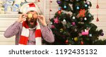 santa claus with funny face...   Shutterstock . vector #1192435132