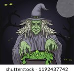 evil cartoon witch with... | Shutterstock .eps vector #1192437742