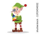cute christmas elf in green...   Shutterstock .eps vector #1192454032