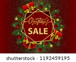 christmas sale card with gold... | Shutterstock .eps vector #1192459195