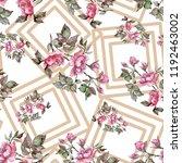 watercolor pink bouquet peony...   Shutterstock . vector #1192463002