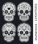 vector mexican skulls with... | Shutterstock .eps vector #1192470352