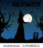 old witch with the dead trees... | Shutterstock .eps vector #1192480612