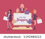 online shopping banner with... | Shutterstock .eps vector #1192484212