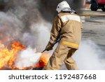 firefighter during training...   Shutterstock . vector #1192487668