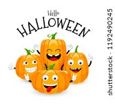Group Of Cute Cartoon Pumpkin...