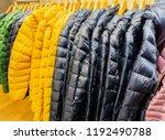 winter fashion down jackets on... | Shutterstock . vector #1192490788
