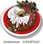 vector christmas cake.... | Shutterstock .eps vector #1192497622