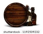 beer background with oak barrel ... | Shutterstock .eps vector #1192509232