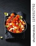 tasty appetizing pasta in bowl... | Shutterstock . vector #1192517752