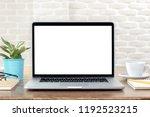 modern laptop computer with... | Shutterstock . vector #1192523215