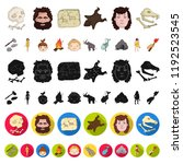 life in the stone age cartoon... | Shutterstock .eps vector #1192523545