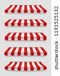 outdoor awnings set. red and... | Shutterstock .eps vector #1192525132