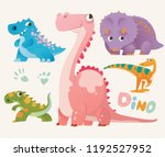 collection of cute dino. set 1... | Shutterstock .eps vector #1192527952