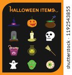 halloween items  objects and... | Shutterstock .eps vector #1192543855