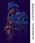 jazz saxophone player. vector... | Shutterstock .eps vector #1192544908