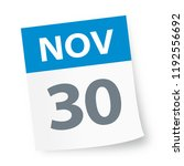 november 30   calendar icon  ... | Shutterstock .eps vector #1192556692