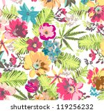shine tropical flower pattern... | Shutterstock .eps vector #119256232