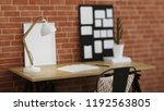 interior of home workplace.... | Shutterstock . vector #1192563805
