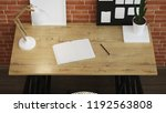 interior of home workplace.... | Shutterstock . vector #1192563808