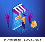 female shopper buying with... | Shutterstock .eps vector #1192567015