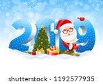 volumetric digits 2019  santa... | Shutterstock .eps vector #1192577935