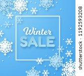 winter sale banner. origami... | Shutterstock .eps vector #1192593208