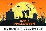 halloween background with cat... | Shutterstock .eps vector #1192595575