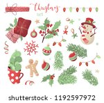 vector seamless christmas... | Shutterstock .eps vector #1192597972