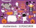big halloween set with cute... | Shutterstock .eps vector #1192621828