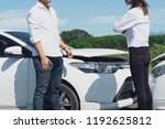 two drivers arguing after...   Shutterstock . vector #1192625812