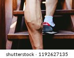 large visible veins of calf... | Shutterstock . vector #1192627135