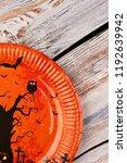 orange plate for halloween. diy ... | Shutterstock . vector #1192639942
