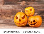three halloween pumpkin heads... | Shutterstock . vector #1192645648