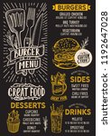 burger menu template for... | Shutterstock .eps vector #1192647028