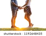 romantic date outdoors. young... | Shutterstock . vector #1192648435
