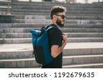 male wearing sunglasses model... | Shutterstock . vector #1192679635