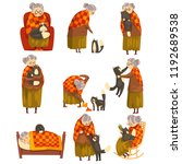 cute granny and her black cat... | Shutterstock .eps vector #1192689538