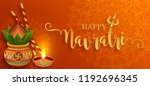 happy navratri festival card... | Shutterstock .eps vector #1192696345