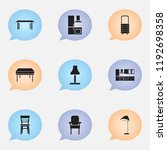 set of 9 editable furniture... | Shutterstock .eps vector #1192698358