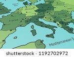 map of southern europe  italy... | Shutterstock . vector #1192702972