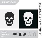 skull flat black and white... | Shutterstock .eps vector #1192703968
