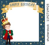 happy birthday frame with cute... | Shutterstock . vector #1192719925