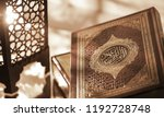islamic book koran with rosary... | Shutterstock . vector #1192728748