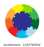 nine part circular puzzle | Shutterstock .eps vector #1192769242