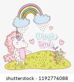 cute unicorn with rainbow... | Shutterstock .eps vector #1192776088