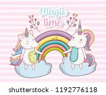 cute unicorn couple with...   Shutterstock .eps vector #1192776118