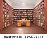 reading hall interior with desk.... | Shutterstock . vector #1192779745