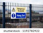 dangerous quayside keep out... | Shutterstock . vector #1192782922